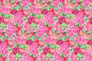 Watercolor peony flower pattern