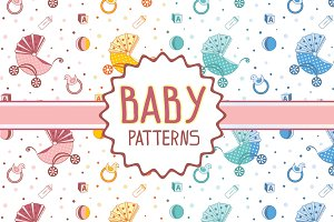 Patterns with a strolller and toys
