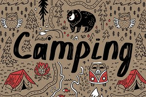 Camping. Happy map pattern