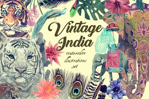Vintage India illustrations set(DIY)