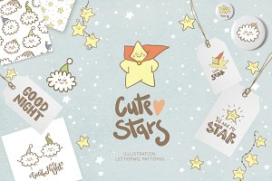 Cute stars and clouds