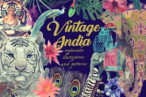 Vintage India watercolor patterns