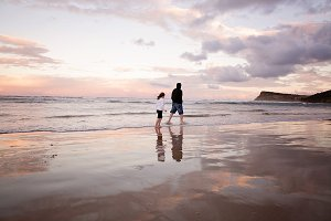 Beach walk at sunset