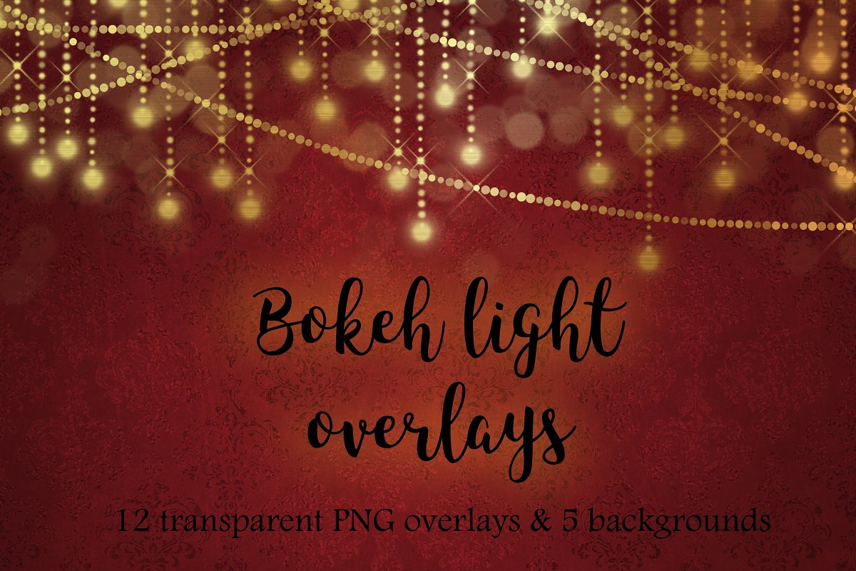 Christmas Lights Overlay Png.Gold Bokeh Lights Overlays Graphic Patterns Creative Market