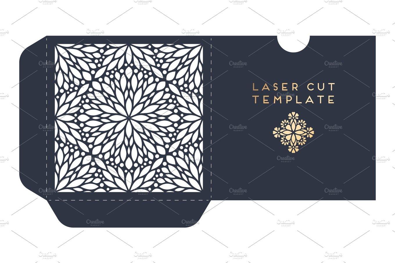 Vector wedding card laser cut template with mandala ~ Card Templates ...
