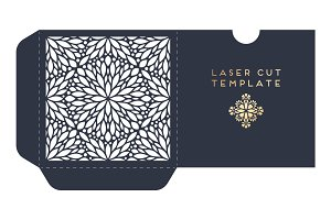 Vector wedding card laser cut template with mandala