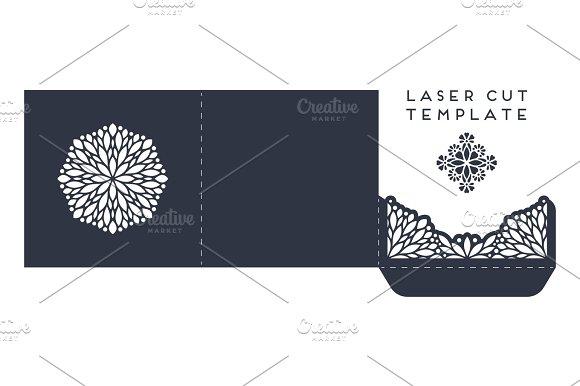 Vector Wedding Card Laser Cut Template With Mandala