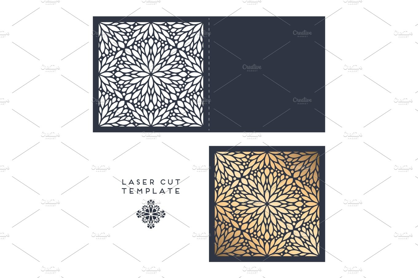 Vector wedding card laser cut template with mandala ~ Card Templates ...