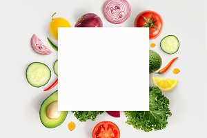Vegetables with white paper card