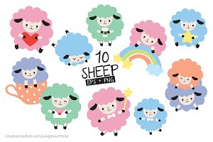 Colorful Sheep Vector and PNG Set