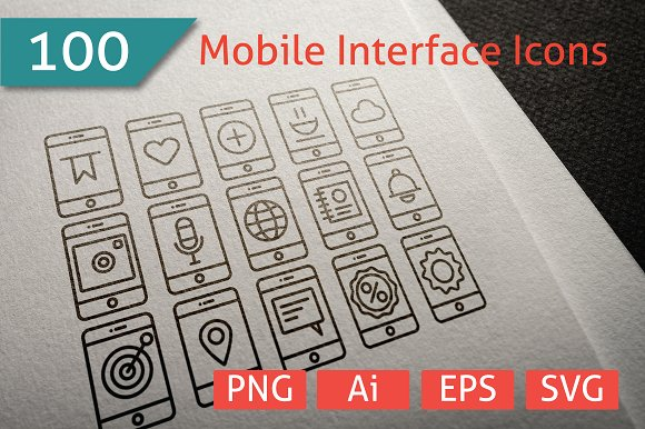 100 Mobile Interface Icon Collection