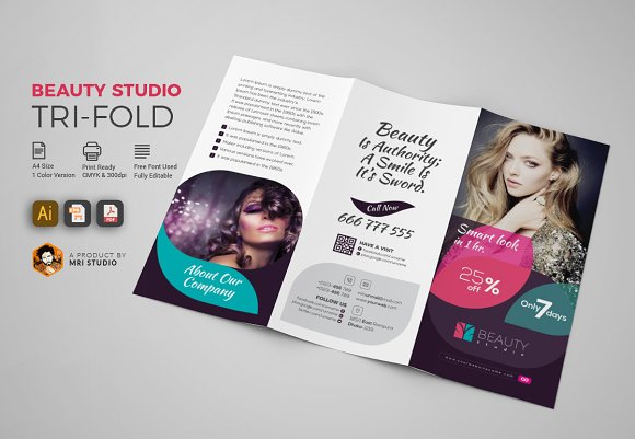 beauty studio tri fold by mri studio in templates brochures