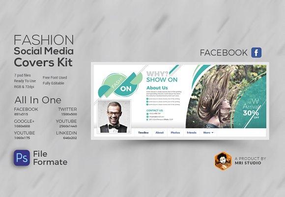 fashion social media cover kit facebook templates creative market