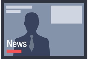 News with Man Silhouette on Dark Grey Background