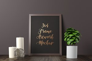 3x4 Frame Artwork Mockup - Dark 4