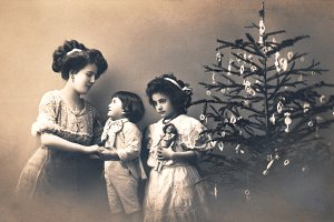 christmas greetings, mother & kids