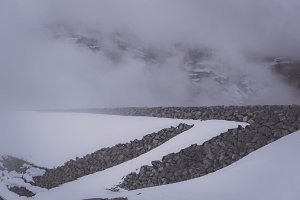 Lake and Dam in Winter