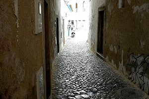 Alley with cobblestones