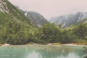 Glacier River and Green Forest
