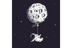 Funny spaceman fly with moon like a balloon