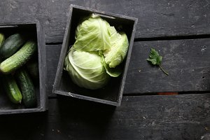 green cabbage, Cucumbers and green leaf, healthy eating idea