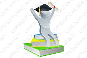 Graduation person on books