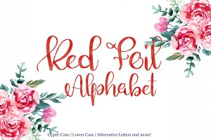 Red foil alphabet clipart