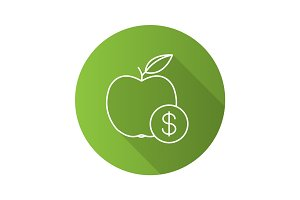 Fruit price flat linear long shadow icon