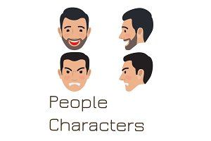 People Characters. Sad and Happy Man Avatar