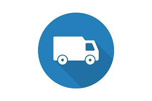 Delivery van flat design long shadow glyph icon