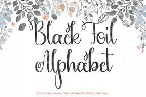 Black foil alphabet clipart,