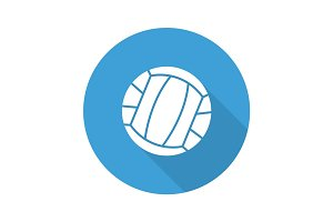 Volleyball ball flat design long shadow glyph icon