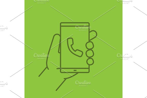 Hand Holding Smartphone Color Linear Icon