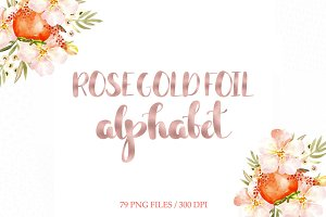 Rose gold foil alphabet clipart