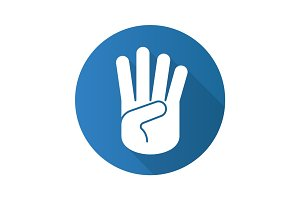 Four fingers hand gesture. Flat design long shadow glyph icon