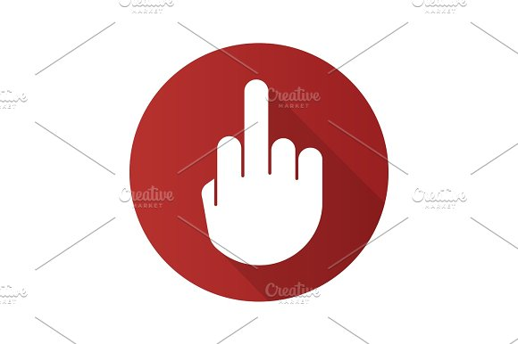 Middle Finger Up Flat Design Long Shadow Glyph Icon