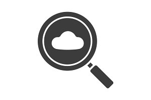 Cloud storage search glyph icon