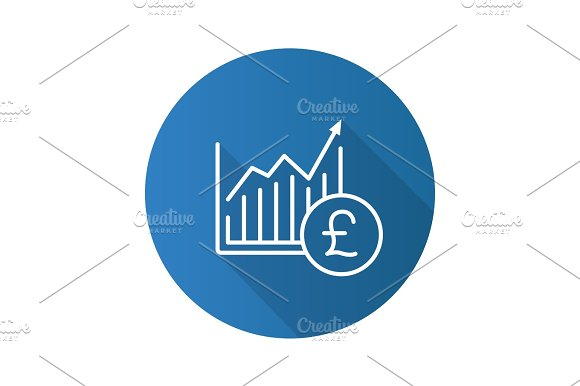 Market Growth Chart Flat Linear Long Shadow Icon