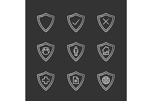 Protection shields chalk icons set