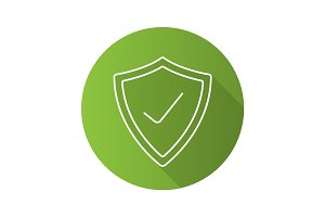 Security check flat linear long shadow icon