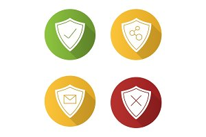 Protection shields flat design long shadow glyph icons set