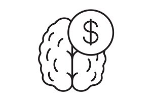 Business mind. Knowledge equal money linear icon
