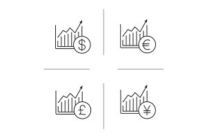 Market growth charts linear icons set