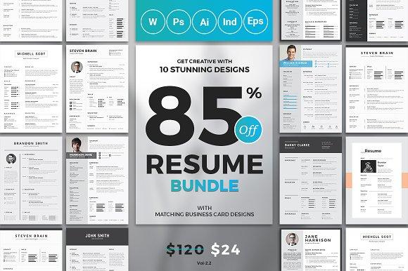 top 10 resume cv bundle resume templates creative market