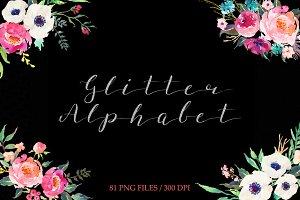 Silver glitter alphabet clip art