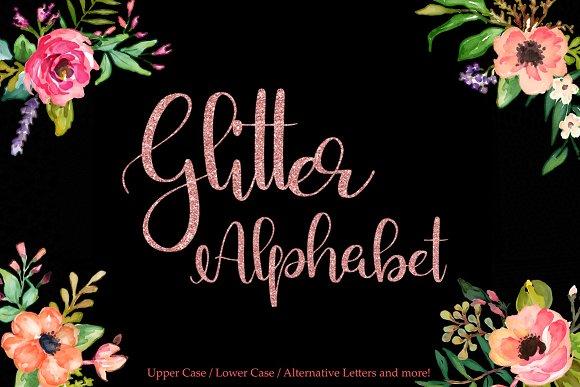 Rose Gold Glitter Alphabet Clipart