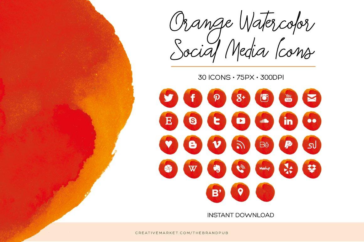Orange Watercolor Social Media Icons Icons Creative Market