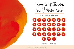 Orange Watercolor Social Media Icons