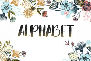Black watercolor alphabet clipart