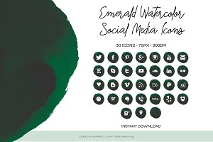 Emerald Watercolor Social Media Icon